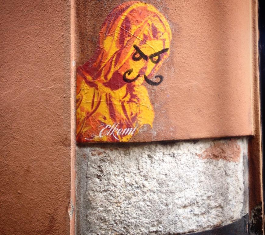 madonna graffiti mustache bologna