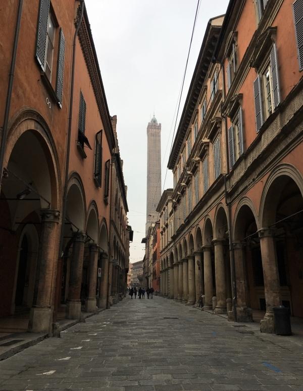 classic view of bologna portici asinelli