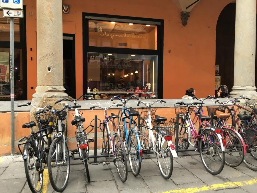 cycling in bologna bike rack