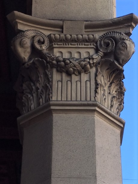 rams head column architectural detail