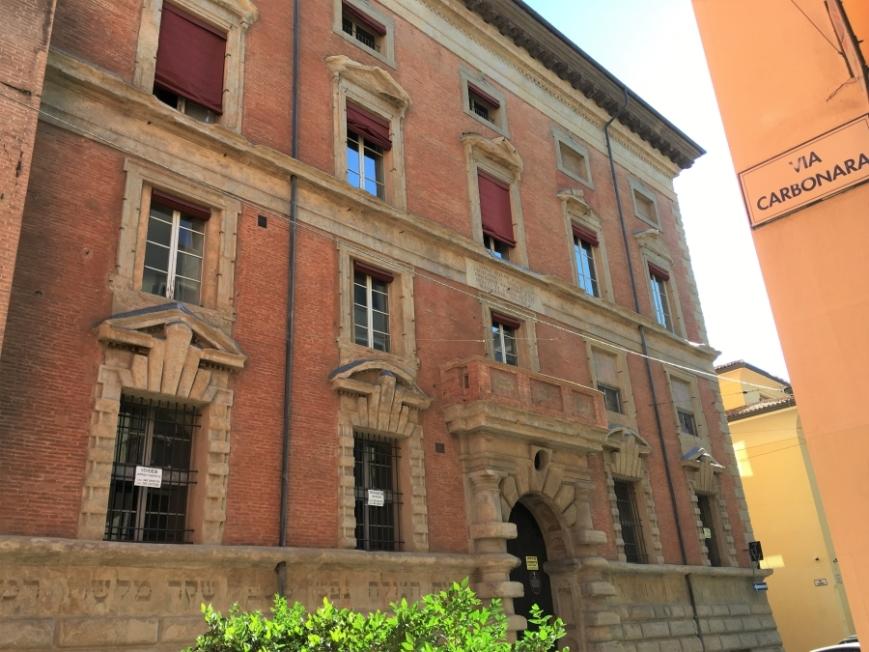 Palazzo Bocchi rustication Bologna architecture hebrew inscription hermatena academy