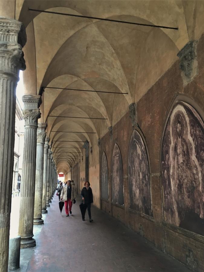 weathered portico bologna street art oratorio di santa cecilia